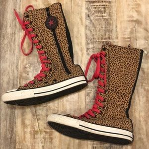 Converse Leopard High Sneakers with Pink Lace Ups